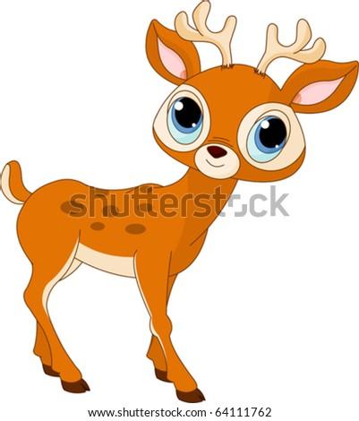 Illustration of beautiful cartoon deer - stock vector