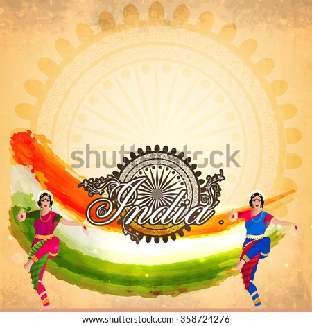 Illustration of beautiful classical dancers on tricolour paint strokes and Ashoka Wheel decorated background for Happy Indian Republic Day celebration. - stock vector
