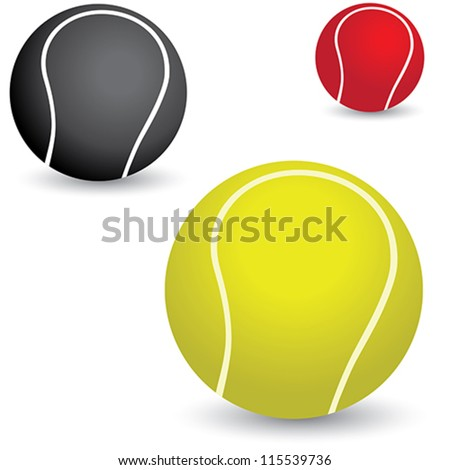 Illustration of beautiful colorful tennis balls in yellow, black and red colors. - stock vector