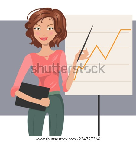 Illustration of beautiful fashion business woman conducting a presentation - stock vector