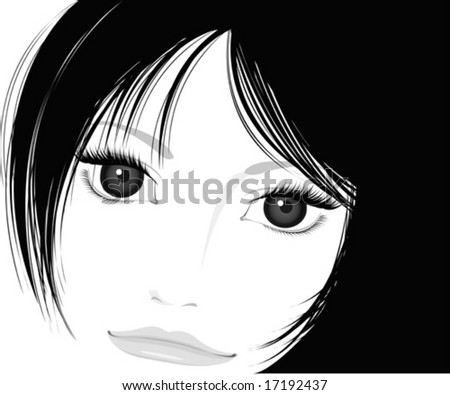 illustration of beautiful girl, black and white - stock vector