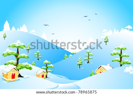 illustration of beautiful landscape with snow fall - stock vector