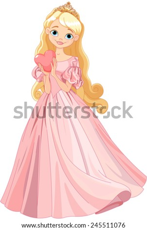 Illustration of beautiful princess holds heart - stock vector