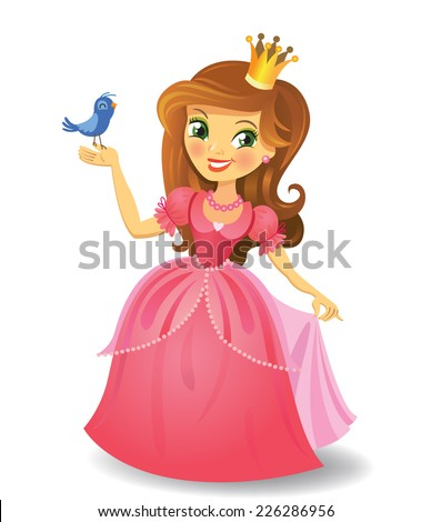 Illustration of beautiful princess  keeping a bird on a hand on wight background. Vector illustration. - stock vector