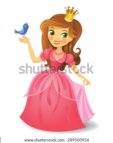 Illustration of beautiful princess keeping a bird on a hand on wight background. Vector illustration.