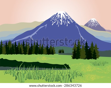 Illustration of beauty landscape fir tree and mountain background - stock vector