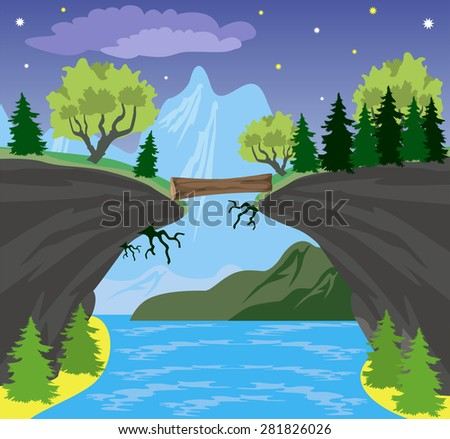 Illustration of beauty landscape with lake and mountain background - stock vector