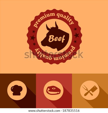 Illustration of Beef labels in Flat Design Style. - stock vector