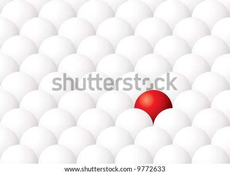 Illustration of being different with one red ball againt many white - stock vector