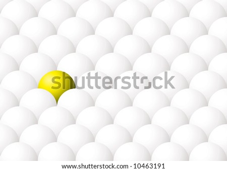 Illustration of being different with one yellow ball against many white - stock vector