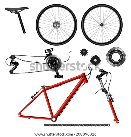 Illustration of bicycle parts. Vector format - stock vector