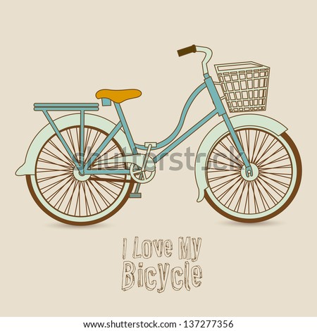 Illustration of Bicycle, Riding on the bicycle, vector illustration - stock vector