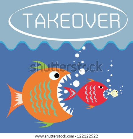 Illustration of big fish eats the small as takeover concept,Vector - stock vector