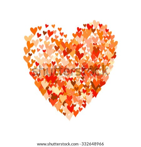 Illustration of big heart shape filled with colorful small hand drawn hearts. Concept of love, care, union, charity, donation, global community, help. Vector print background for Valentines Day. - stock vector