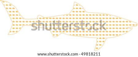 Illustration of big shark small business - stock vector