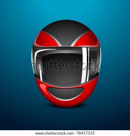illustration of bike helmet on abstract background - stock vector