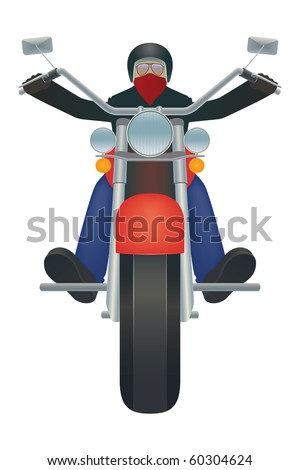 Illustration of biker riding a motorcycle - stock vector