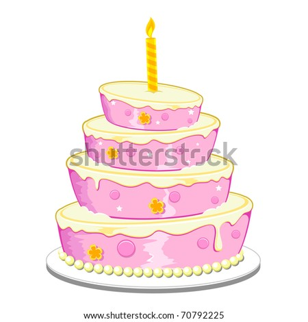 illustration of birthday cake with candle on isolated background - stock vector