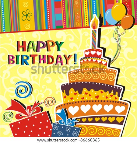 illustration of birthday card with birthday cake, balloons,ribbons and gift on abstract background.  Vector - stock vector