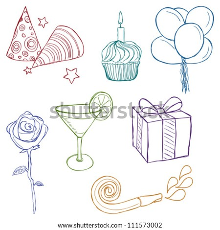 Illustration of birthday or party icons - sketch style - stock vector