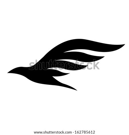 Illustration of Black Bird Icon isolated on a white background - stock vector