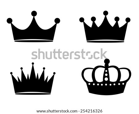 Illustration of black crown silhouettes isolated on white background - stock vector