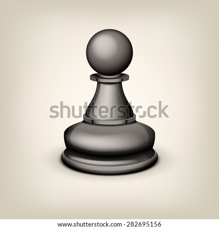 illustration of black pawn on grey background - stock vector