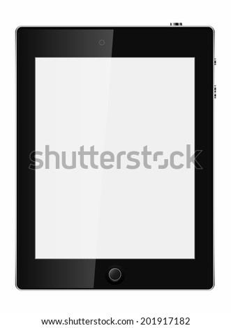Illustration of black tablet pc same with ipade on white background - stock vector