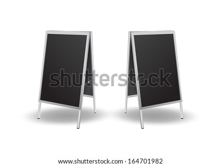 Illustration of blank black sandwich board - stock vector