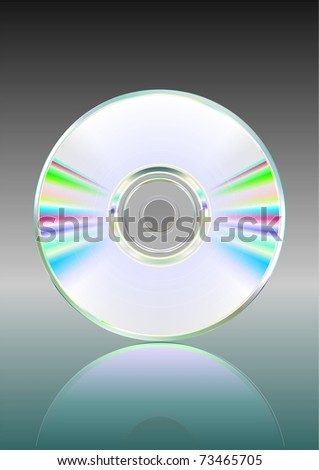 Illustration of blank CD or DVD disc with reflection. Vector. - stock vector