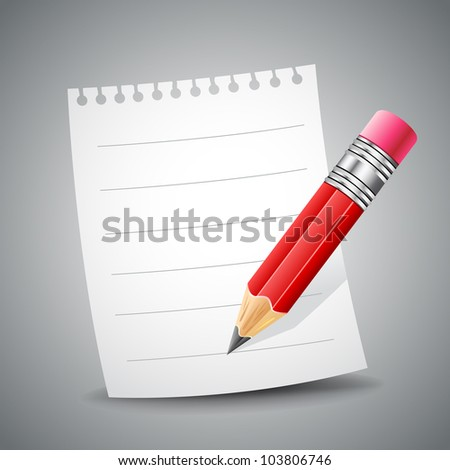 illustration of blank paper and pencil on abstract background - stock vector