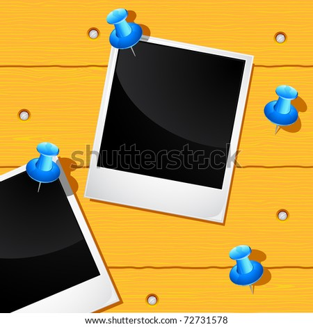 illustration of blank photo attached with push pin on wooden background - stock vector