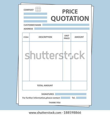 Illustration of blank sale price quotation form - stock vector