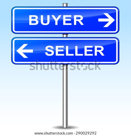 illustration of blue arrows sign for buyer and seller