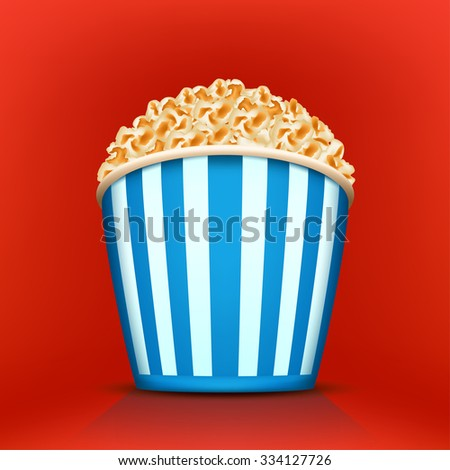 illustration of blue cup full of popcorn on red background