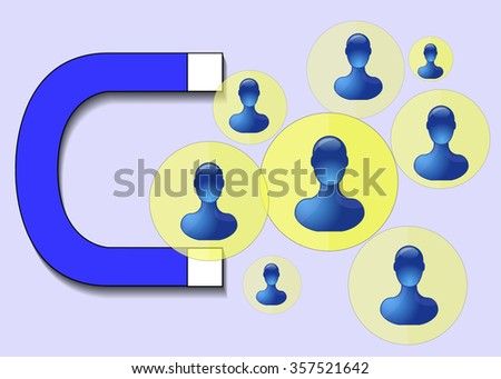 Illustration of blue magnet attracting humans - stock vector