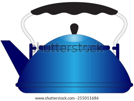 Illustration of blue metal teapot on a white background - stock vector