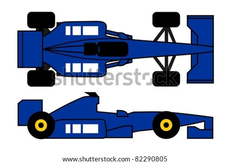 Illustration of blue racing car