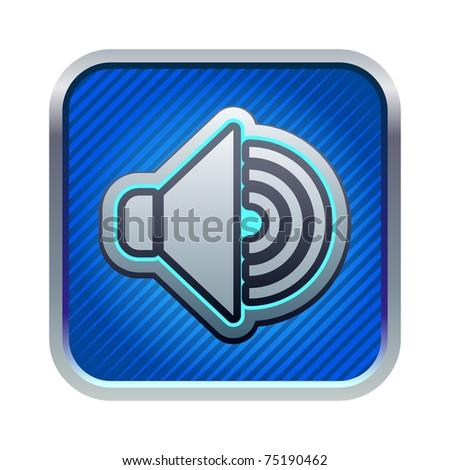Illustration of blue speaker icon - stock vector