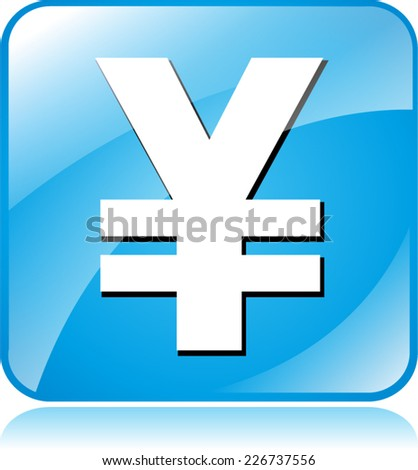Illustration of blue square design icon for yen - stock vector
