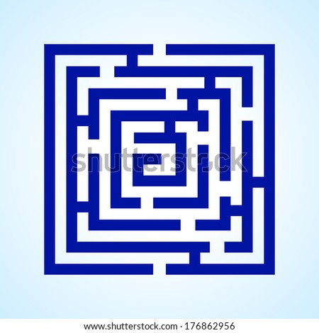Illustration of blue square labyrinth on light blue background - stock vector