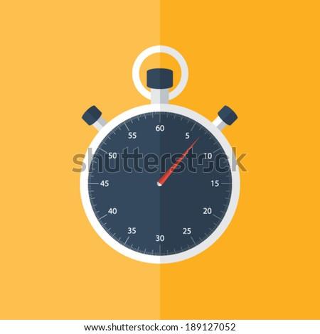 Illustration of Blue stopwatch icon over orange - stock vector