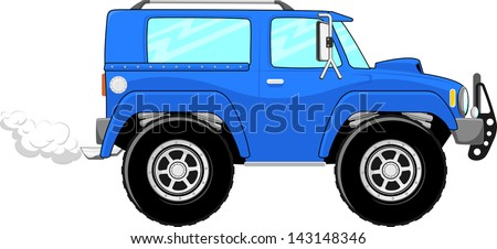 illustration of blue truck cartoon isolated on white background