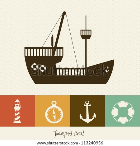 Illustration of boat, with offshore icons, vector illustration - stock vector