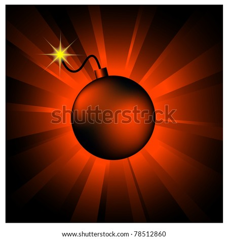 illustration of bomb on red shining background - stock vector