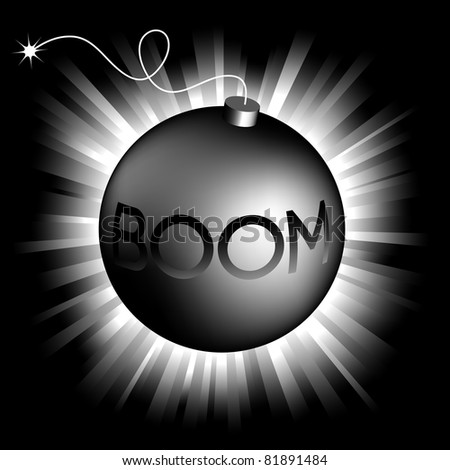illustration of  bomb on shining background - stock vector