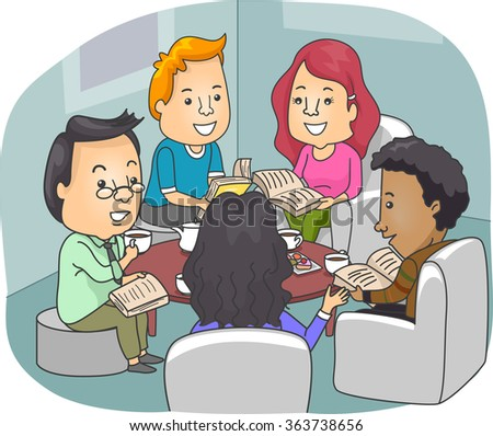 Illustration of Book Club Members Discussing Novels While Drinking Coffee - stock vector