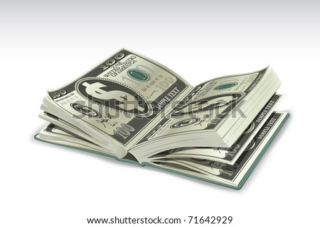 illustration of book with dollar pages on abstract background - stock vector