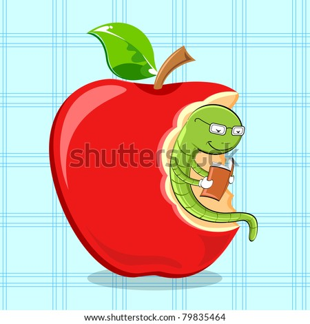 illustration of bookworm reading while sitting in apple - stock vector