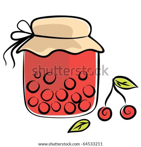 Illustration of bottle with cherry jam - stock vector